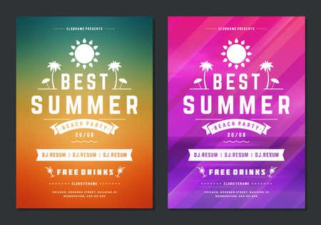 Summer party design poster or flyer night club event modern typography Illusztráció