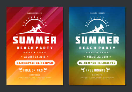 Summer party design poster or flyer night club event modern typography Vector Illustration
