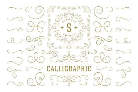 Calligraphic design elements vintage ornaments swirls and scrolls ornate decorations vector design elements. Vektorgrafik