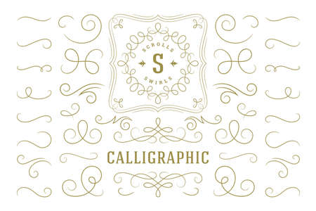 Calligraphic design elements vintage ornaments swirls and scrolls ornate decorations vector design elements.