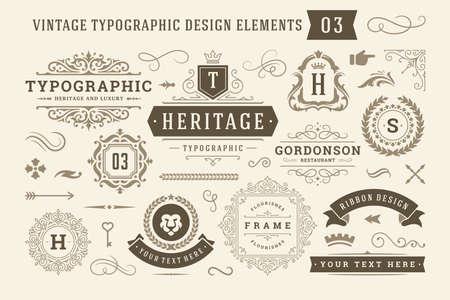 Vintage typographic design elements set vector illustration. Vektoros illusztráció