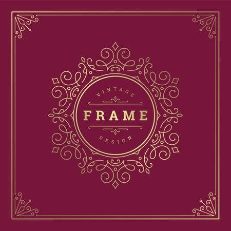 Vintage flourishes ornament swirls lines frame template vector illustration victorian ornate border for greeting cards
