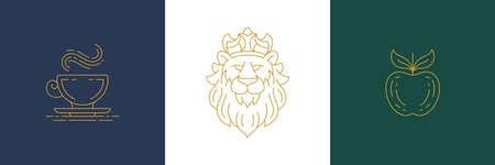 Vector line elegant decoration design elements set - lion head and apple illustrations linear style Illustration