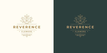 Flower line and branch with leaves vector logo emblem design template illustration simple minimal linear style. Illustration