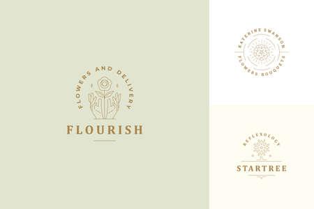 Vector line logos emblems design templates set - female gesture hands and rose flower illustrations simple linear style