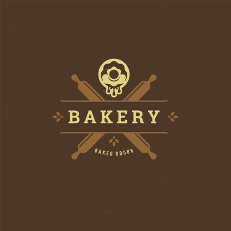 Bakery badge or label retro illustration rolling pins and donut silhouettes for bake house.
