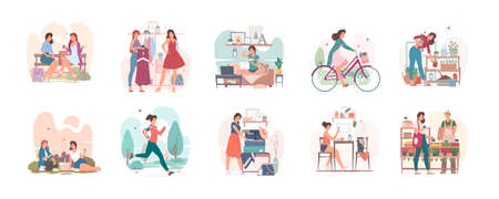Set of vector illustrations showing everyday life of young contemporary female doing various activities indoors and outdoors in modern city