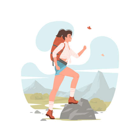 Vector illustration of modern woman with backpack stepping on stone while exploring wilderness during trip in nature on summer day Illusztráció