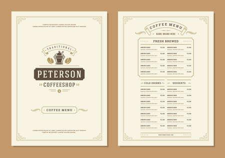 Coffee menu design brochure template. Coffee shop logo with vintage typographic decoration elements. Vector Illustration. Logo