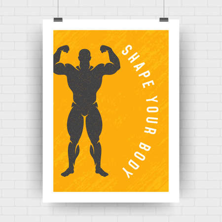 Fitness motivation poster retro typographic quote design template with bodybuilder man symbol silhouette vector illustration. Shape your body message, vector illustration.
