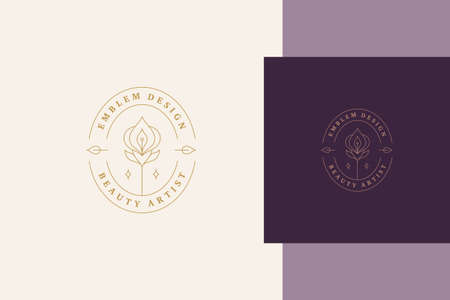 Minimal vector illustration of linear style logo template with elegant orchid in oval frame designed for professional beauty artist service line style