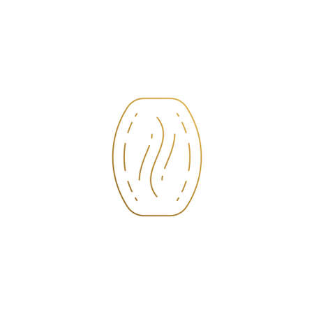 Minimal vector illustration of linear style logo design template of coffee bean hand drawn with golden lines