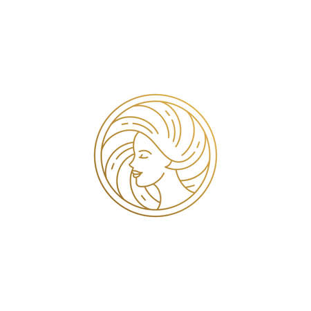 Minimal vector illustration of shaped linear style emblem template profile of woman face with beautiful hair hand drawn with golden lines