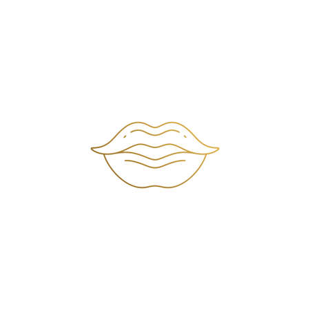 Simple vector illustration of linear style emblem design template of sensual plump female lips hand drawn with thin golden lines Illusztráció