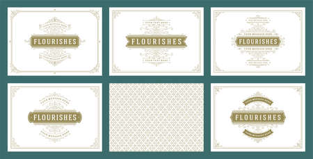 Vintage ornament greeting cards set templates flourish ornate frames and pattern background vector illustration Vetores