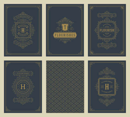 Vintage ornament greeting cards set vector templates. Flourishes ornamental frames and pattern background  イラスト・ベクター素材