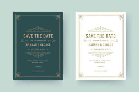 Wedding invitation and save the date cards flourishes ornaments vignette swirls.