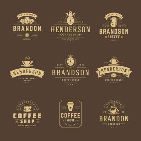 Coffee shop logos design templates set vector illustration for cafe badge design and menu decoration