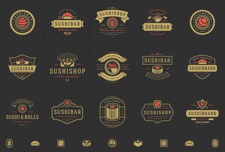 Sushi restaurant logos and badges set japanese food with sushi salmon rolls silhouettes vector illustration Logo
