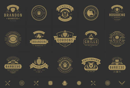Grill and barbecue logos set vector illustration steak house or restaurant menu badges with bbq food silhouettes Logos