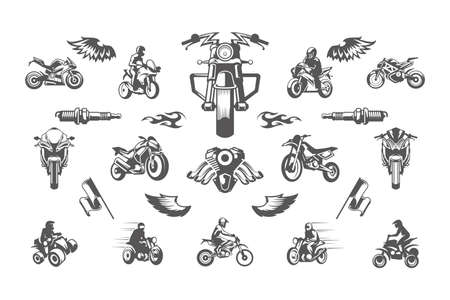 Vintage custom motorcycles silhouettes and icons isolated on white background vector illutrations set. Ilustración de vector