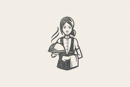 Professional waitress holding tray silhouette with hot food covered with cloche
