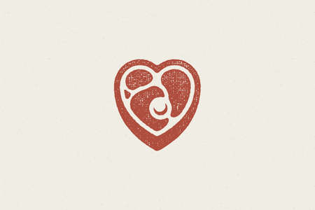 Heart shaped pieced of fresh meat steak silhouette hand drawn stamp effect vector illustration.