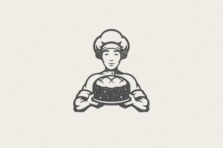 Silhouette of male chef baker carrying plate with fresh cake hand drawn stamp effect vector illustration.
