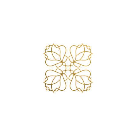 Vector icon of floral ornament hand drawn with thin lines
