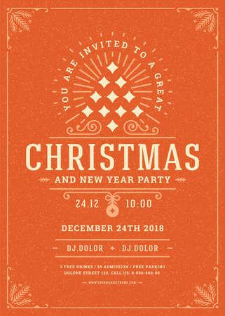 Christmas party invitation retro typography and decoration elements. Vektorové ilustrace
