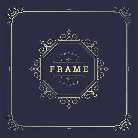 Vintage flourishes ornament swirls lines frame template vector illustration victorian ornate border Vektorgrafik