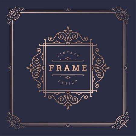 Vintage flourishes ornament swirls lines frame template vector illustration victorian ornate border Vector Illustratie