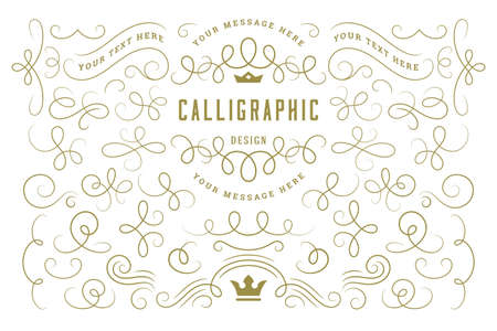Calligraphic design elements vintage ornaments swirls and scrolls ornate decorations