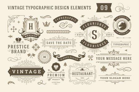 Vintage typographic design elements set vector illustration. Vetores