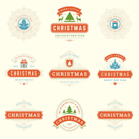 Christmas sayings labels and badges vector design elements set.