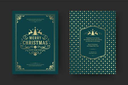 Christmas greeting card vintage typographic design ornate decorations with holidays wish Vektorgrafik