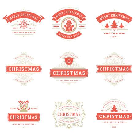 Christmas labels and badges vector design elements set.