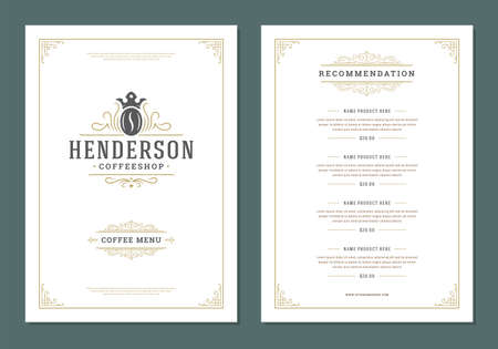 Coffee menu design template flyer for cafe with coffee shop bean symbol and vintage typographic decoration elements