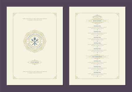 Menu design template with cover and restaurant vintage   vector brochure.