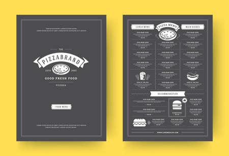 Pizza restaurant menu layout design brochure or food flyer template vector illustration.