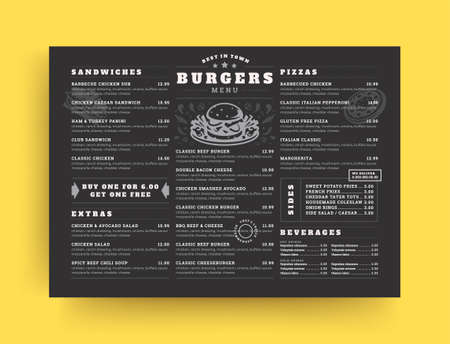 Burger restaurant menu layout design brochure or food flyer template vector illustration.