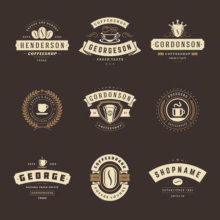 Coffee shop logos design templates set vector illustration for cafe badge design and menu decoration Logo