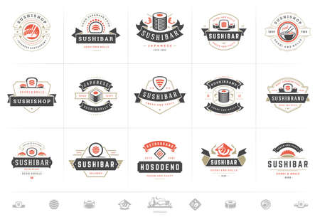 Sushi restaurant logos and badges set japanese food with sushi salmon rolls silhouettes vector illustration