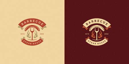 Barbecue logo vector illustration grill steak house or bbq restaurant menu emblem fork with sausage silhouette