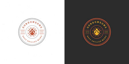 Barbecue logo vector illustration steak house or bbq restaurant menu emblem grill with bonfire silhouette