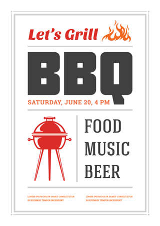Barbecue party vector flyer or poster design template Çizim
