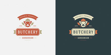 Butcher shop  illustration pig head silhouette good for farm or restaurant badge