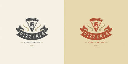 Pizzeria logo vector illustration pizza slice silhouette good for restaurant menu and cafe badge