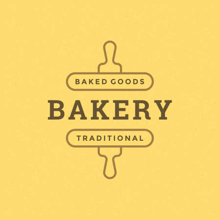 Bakery badge or label retro vector illustration rolling pins silhouette for bakehouse