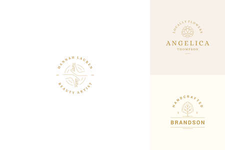 Vector line logos emblems design templates set - female gesture hands and rose illustrations simple minimal linear style
